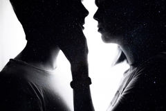 Double exposure of lovely romantic couple. Space love. White background Royalty Free Stock Image