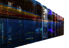 Double exposure mainframe with road traffic isolate Stock Photos