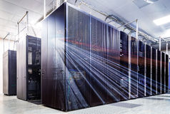 Double exposure mainframe room with road traffic Royalty Free Stock Images