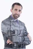 Double exposure of man and factory. Double exposure of businessman and factory royalty free stock image