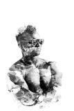 Double exposure man in glasses with naked torso isolated on a white background. The sports guy art illustration. Royalty Free Stock Images