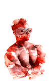 Double exposure man in glasses with naked torso isolated on a white background. The sports guy art. Illustration Royalty Free Stock Image