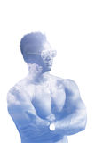 Double exposure man in glasses with naked torso isolated on a white background. The sports guy art illustration. Double exposure man in glasses with naked torso Stock Photo