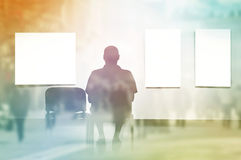 Double Exposure Man sitting in art gallery Royalty Free Stock Photos