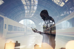 Double exposure of man and smart phone Royalty Free Stock Image