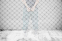 Double exposure of of the man was bound by hand in the handcuffe Royalty Free Stock Photo