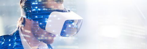 Double exposure of man wearing vr glasses watching 3d visualization royalty free illustration