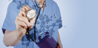Double exposure of medical doctor with stethoscope Royalty Free Stock Photos