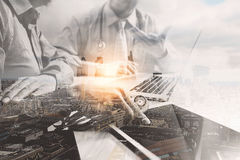 Double exposure of Medical technology network team meeting conce Royalty Free Stock Photo