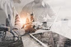 Double exposure of Medical technology network team meeting conce Royalty Free Stock Image