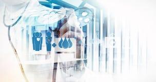 Double exposure of Medicine doctor hand working Stock Image