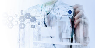 Double exposure of Medicine doctor Stock Images