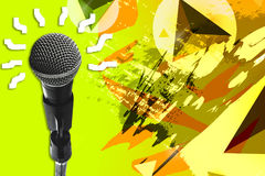 Double Exposure Microphone.The Future Ideas Royalty Free Stock Photos