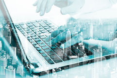 Double exposure modern technology as concept with laptop.  Royalty Free Stock Photos