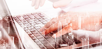 Double exposure modern technology as concept with laptop.  Royalty Free Stock Photography