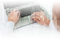 Double exposure modern technology as concept with laptop.  Stock Photography