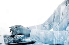 Double exposure modern technology as concept with laptop.  Royalty Free Stock Images