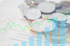 Double exposure of money coins with growing graph. Double exposure of money coins with growing graph, Finance and banking concept Stock Images