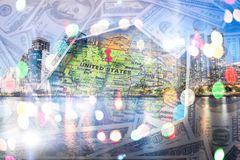 Double exposure of money with world map background. Royalty Free Stock Photos