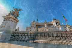 Double exposure with the Monument Nazional a Vittorio Emanuele I Stock Image