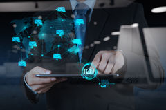 Double Exposure Of Hand Showing Internet Of Things (IoT) Royalty Free Stock Photos
