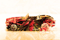 Double exposure old classic car with flower background Stock Photography