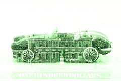 Double exposure old classic car with hundred dollar bill background Stock Photos