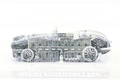Double exposure old classic car with hundred dollar bill background Royalty Free Stock Photography