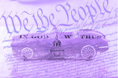 Double exposure old classic car with US constitution background Stock Photography