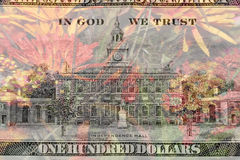 Double exposure one hundred dollar bill with flower background Royalty Free Stock Photography