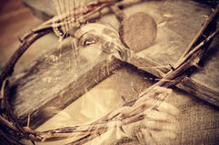 Double exposure of the Passion of the Christ Stock Photo