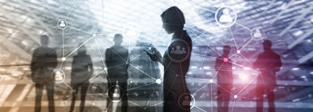 Double exposure people network structure. HR - Human resources management and recruitment concept stock image