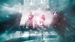 Double exposure people network structure HR - Human resources management and recruitment concept stock photography