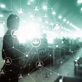 Double exposure people network structure HR - Human resources management and recruitment concept. stock photo