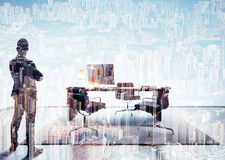 Double exposure photo of businessman in contemporary office. Horizontal Stock Photo