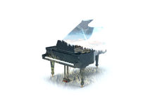 Double Exposure Piano Forest Royalty Free Stock Photos