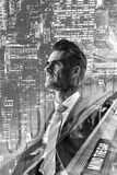 Double exposure picture of a businessman royalty free stock photos