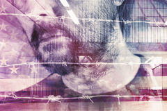 Double exposure portrait of adult male American Stock Image