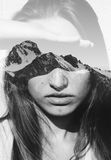 Double exposure portrait Royalty Free Stock Photography