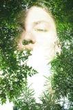 Double exposure portrait Stock Images