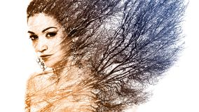 Double exposure portrait of attractive woman combined with photo. Graph of tree or branches, surreal portrait of a young girl with multiple exposure effect,multi Stock Images