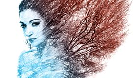 Double exposure portrait of attractive woman combined with photo. Graph of tree or branches, surreal portrait of a young girl with multiple exposure effect,multi Royalty Free Stock Image