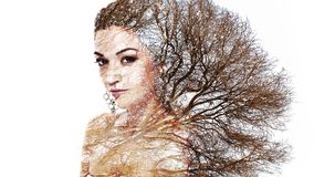 Double exposure portrait of attractive woman combined with photo. Graph of tree or branches, surreal portrait of a young girl with multiple exposure effect Stock Images