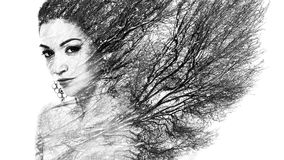 Double exposure portrait of attractive woman combined with photo. Graph of tree or branches, surreal portrait of a young girl with multiple exposure effect Stock Image