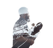 Double exposure portrait of a bearded guy and road Stock Images