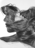Double exposure portrait. Of beautiful young woman Royalty Free Stock Photography