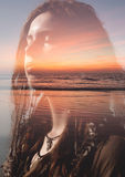 Double exposure portrait Stock Photography
