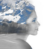 Double exposure portrait of girl and mountain Royalty Free Stock Photo