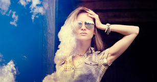 Double Exposure Portrait of Hipster Girl Stock Images