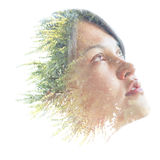 Double exposure portrait of a natural beauty Royalty Free Stock Image